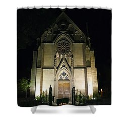 Shower Curtain featuring the photograph Evening At Loretto Chapel Santa Fe by Kurt Van Wagner