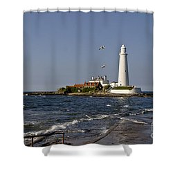 Evening At St. Mary's Lighthouse Shower Curtain