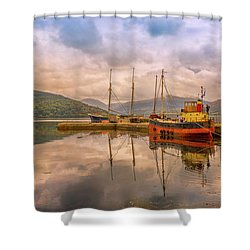 Evening At The Dock Shower Curtain by Roy McPeak