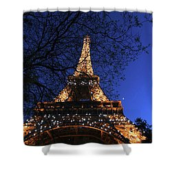 Shower Curtain featuring the photograph Evening At The Eiffel Tower by Heidi Hermes