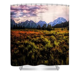 Evening At The Grand Tetons  ... Shower Curtain