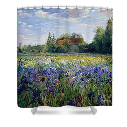 Evening At The Iris Field Shower Curtain by Timothy Easton