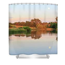 Shower Curtain featuring the photograph Evening At The Lake by David Chandler