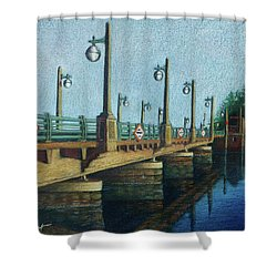 Shower Curtain featuring the painting Evening, Bayville Bridge by Susan Herbst