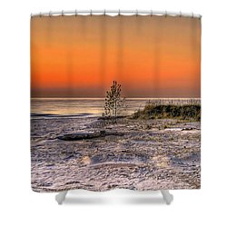 Evening Beach Glow  Shower Curtain