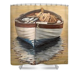 Shower Curtain featuring the painting Evening Boat by Natalia Tejera