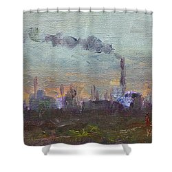 Evening By Industrial Site Shower Curtain