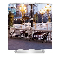 Evening By The Bridge Shower Curtain by Rae Tucker