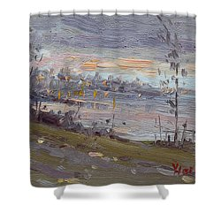 Evening By The River Shower Curtain