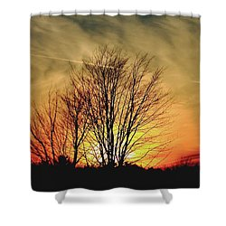 Shower Curtain featuring the photograph Evening Fire by Bruce Patrick Smith