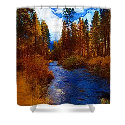 Evening Hatch On The Metolius Painting Shower Curtain