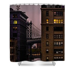Shower Curtain featuring the photograph Evening In Dumbo by Chris Lord
