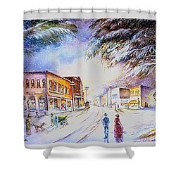 Shower Curtain featuring the painting Evening In Dunnville by Patricia Schneider Mitchell