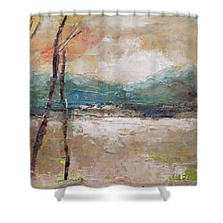 Shower Curtain featuring the painting Evening In Fall by Becky Kim