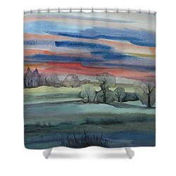 Shower Curtain featuring the painting Evening In Fishcreek Park by Anna  Duyunova