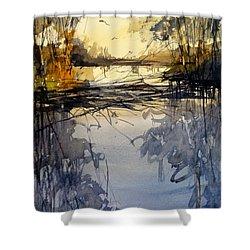 Evening In The Wetlands Shower Curtain by Sandra Strohschein