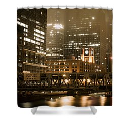 Evening In The Windy City Shower Curtain by Miguel Winterpacht