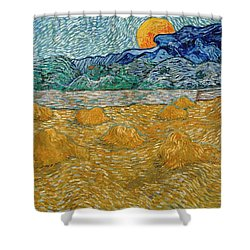 Shower Curtain featuring the painting Evening Landscape With Rising Moon by Van Gogh
