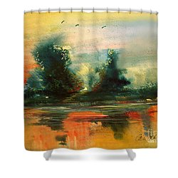 Shower Curtain featuring the painting Evening Light by Allison Ashton