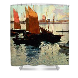 Evening Light At The Port Of Camaret Shower Curtain by Charles Cottet