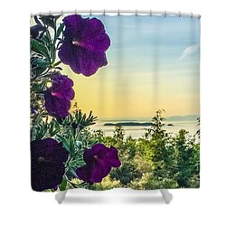 Evening Light On Orcas Island Shower Curtain by William Wyckoff