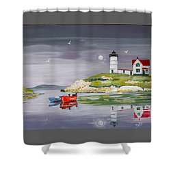 Shower Curtain featuring the painting Evening Lighthouse by Phyllis Kaltenbach