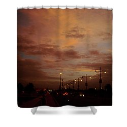 Evening Lights On Road Shower Curtain