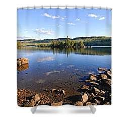 Evening On Cedar Lagoon Pine Lake Shower Curtain by Larry Ricker