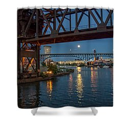 Evening On The Cuyahoga River Shower Curtain by Brent Durken