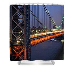 Evening On The George Washington Bridge Shower Curtain by James Kirkikis