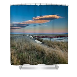 Shower Curtain featuring the photograph Evening On The Plains by Fran Riley