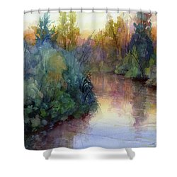Shower Curtain featuring the painting Evening On The Willamette by Steve Henderson
