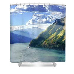 Shower Curtain featuring the photograph Evening Over Geirangerfjord by Dmytro Korol