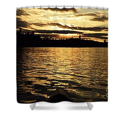 Shower Curtain featuring the photograph Evening Paddle On Amoeber Lake by Larry Ricker