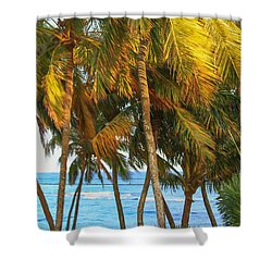 Evening Palms In Trade Winds Shower Curtain by Bonnie Follett