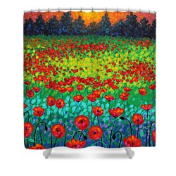 Evening Poppies Shower Curtain by John  Nolan