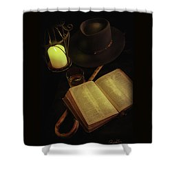 Shower Curtain featuring the photograph Evening Reading by Ann Lauwers