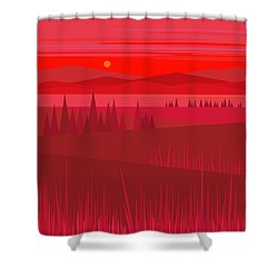Evening Red Shower Curtain by Val Arie