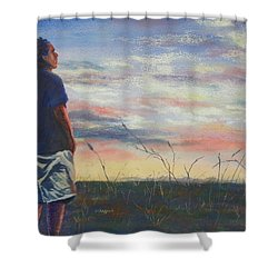 Evening Reflection Shower Curtain by Becky Chappell