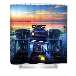 Shower Curtain featuring the photograph Evening Romance by Debra and Dave Vanderlaan