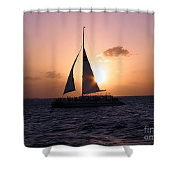 Evening Sail Shower Curtain by Ania M Milo