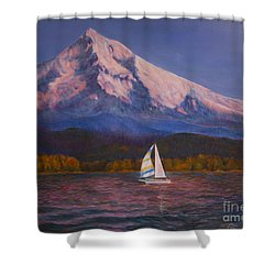 Shower Curtain featuring the painting Evening Sail by Jeanette French