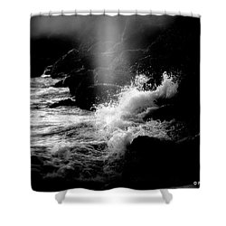 Evening Splash In Bw Shower Curtain