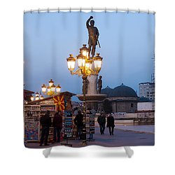 Evening Stroll In Skopje Shower Curtain by Rae Tucker