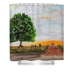 Shower Curtain featuring the painting Evening Stroll by Jack G Brauer