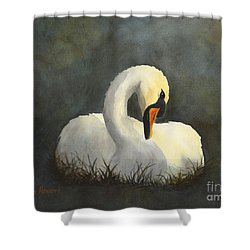 Shower Curtain featuring the painting Evening Swan by Phyllis Howard