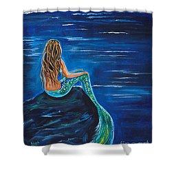 Evening Tide Mermaid Shower Curtain by Leslie Allen
