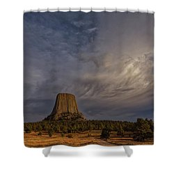 Evening Time At Devils Tower Shower Curtain