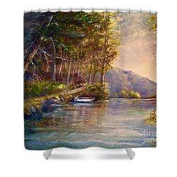 Shower Curtain featuring the painting Evening's Twilight by Patricia Schneider Mitchell