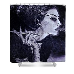 Shower Curtain featuring the drawing Ever Dream by Jarko Aka Lui Grande